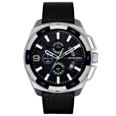 DIESEL 數度空間三眼計時時尚男錶-藍黑x黑錶帶/48mm