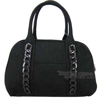 agnes b. 帆布編織鍊飾波士頓包(黑)