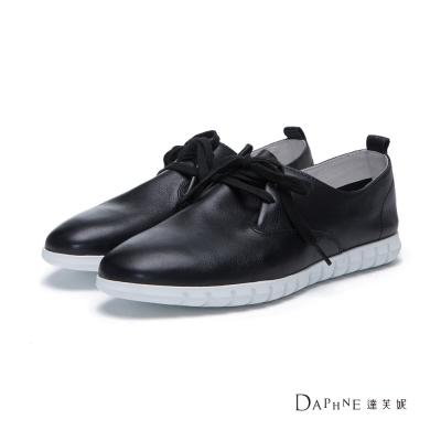 達芙妮DAPHNE 平底鞋-綁帶鋸齒鞋底真皮平底鞋-黑