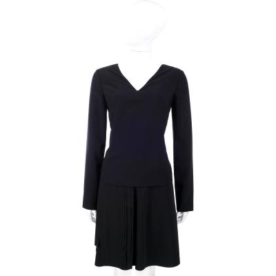 PHILOSOPHY 下擺抓褶造型V領長袖洋裝(黑色)