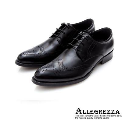 ALLEGREZZA真皮男鞋-經典風範-真皮藝紋雕花尖頭綁帶鞋黑色