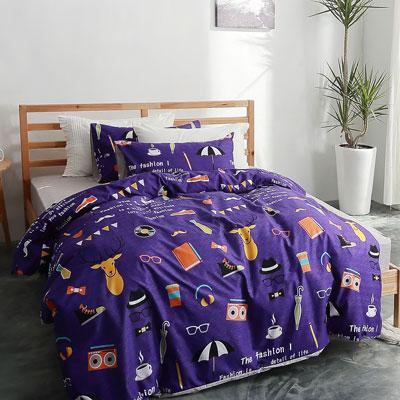 美夢元素 台製-天鵝絨-床包被套四件組-加大(魔術)