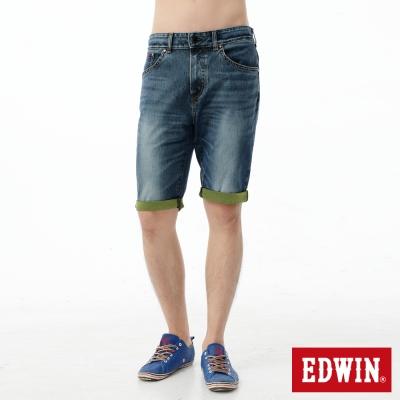 EDWIN-短褲-迦績褲JERSEYS反折牛仔褲-男-石洗綠