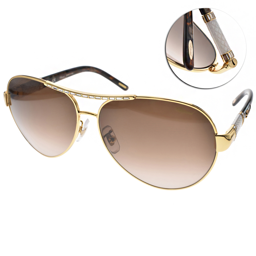 CHOPARD蕭邦太陽眼鏡 鑲鑽飛官系列/金-漸層棕#CPA59S 0300