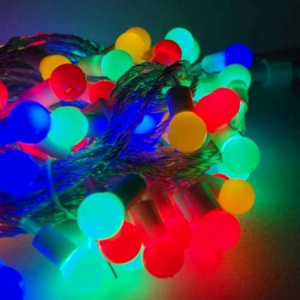 聖誕燈100燈LED圓球珍珠燈串(插電式/彩色光透明線/附控制器跳機)(高亮度又省電)
