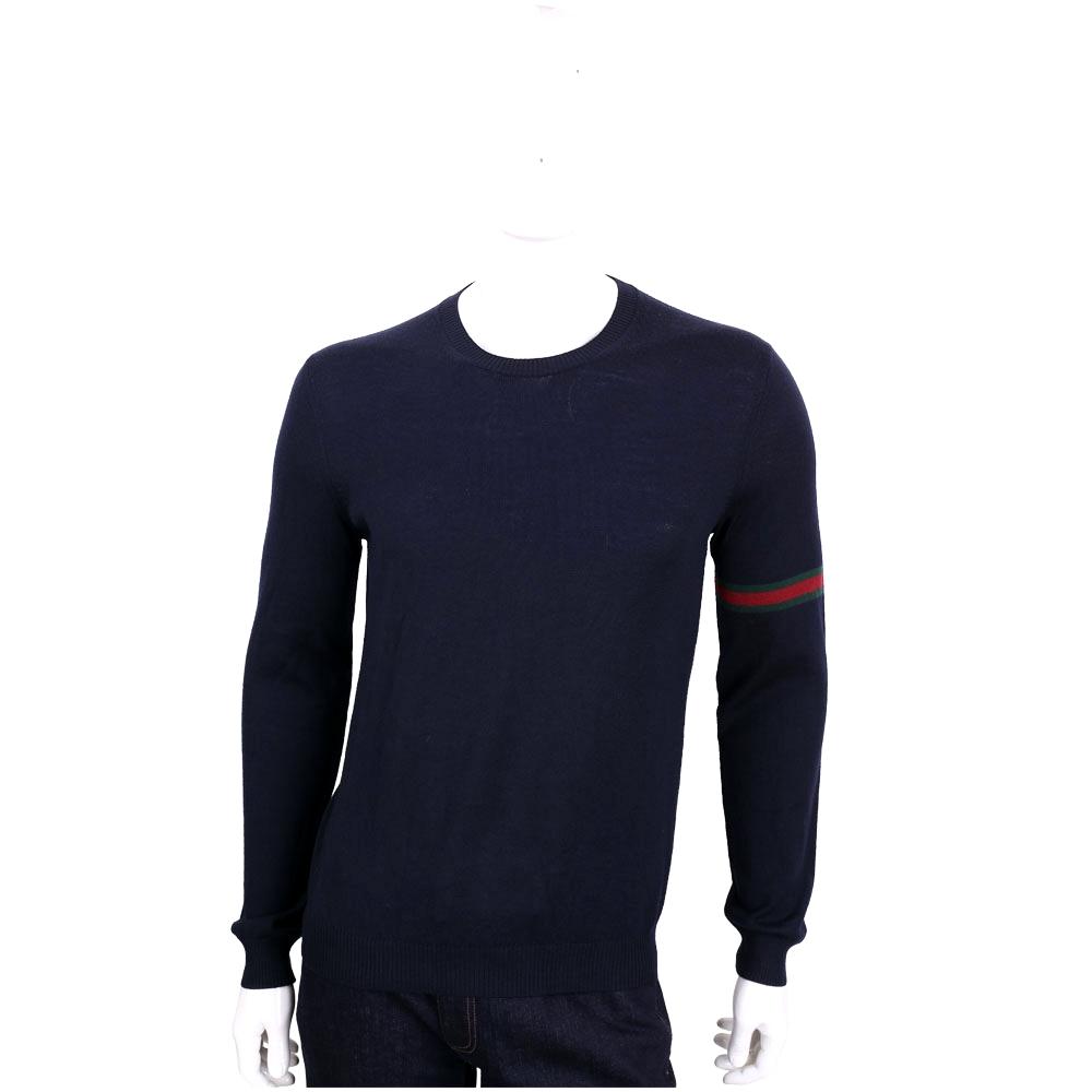 GUCCI 深藍色織帶設計圓領羊毛針織長袖上衣(100%WOOL)