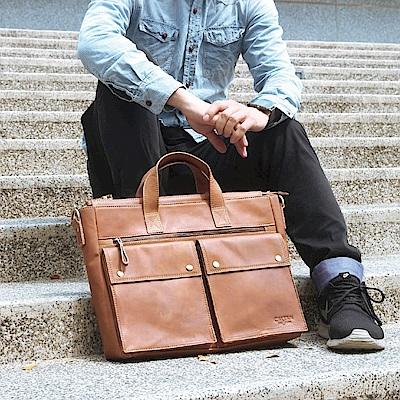 CALTAN -男用 公事包 手提 斜背 兩用包 超大容量 電腦包-5245ht