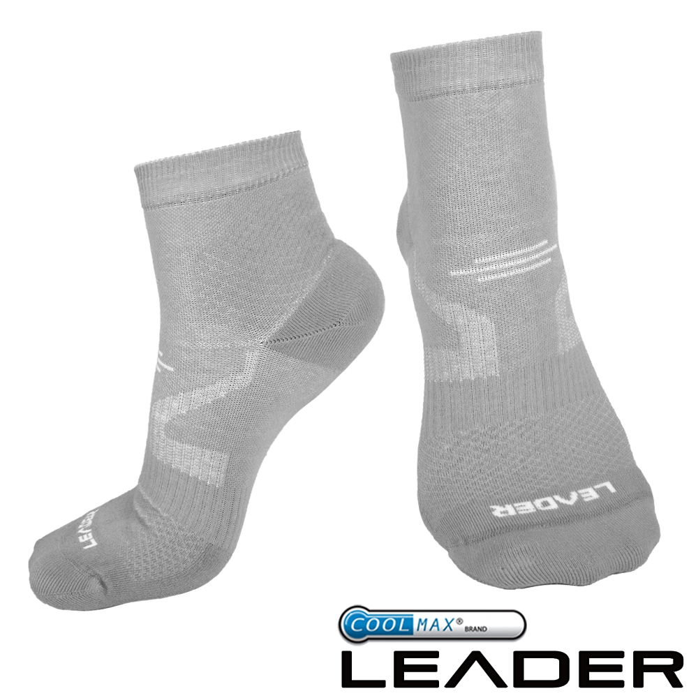 LEADER 運動專用薄型除臭機能襪 男款(灰色)