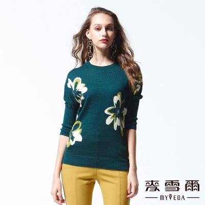 麥雪爾 鑽飾花朵羊毛針織上衣-綠