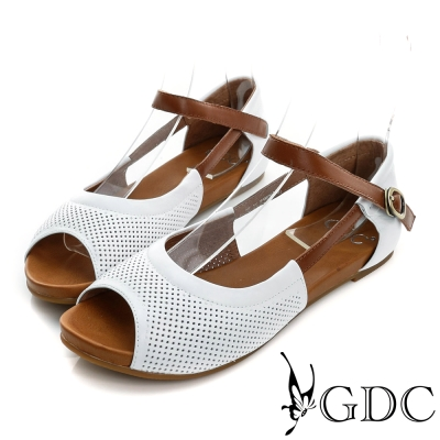 GDC-清新可愛沖孔真皮平底一字涼鞋-白色