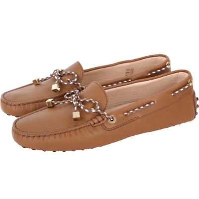 TOD'S Gommino 撞色綁帶豆豆休閒鞋(棕色)
