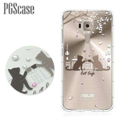 PGS ZenFone3 ZE552KL 5.5吋 奧地利彩鑽防摔手機軟殼-午茶貓咪