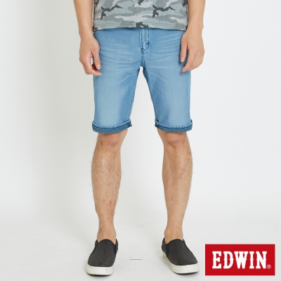 EDWIN 迦績褲JERSEYS貓鬚涼感短褲-男-石洗藍