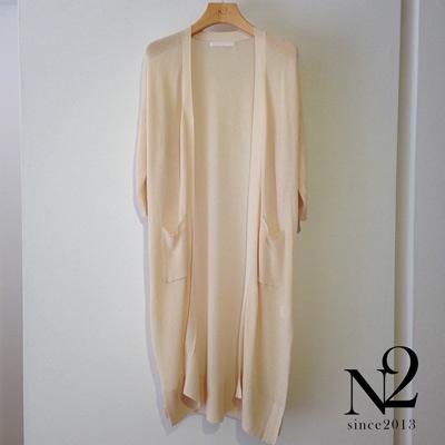 罩衫-七分袖開衩長版薄針織外套-米-N2