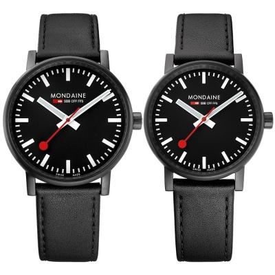 MONDAINE 瑞士國鐵 evo2 魅力無限對錶-黑/35+40mm