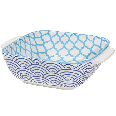 NOW 圖騰方型深餐盤(圓弧藍15cm)