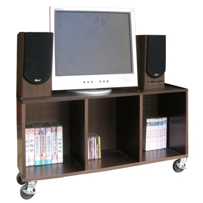 【Dr. DIY】90[寬]耐重型-電視櫃(附輪子)深胡桃木