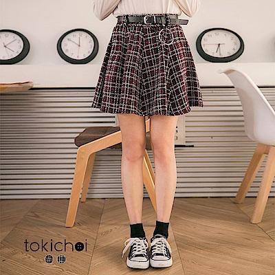 東京著衣 英倫風毛呢格紋短裙-S.M(共二色)
