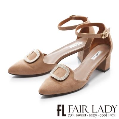 Fair Lady 優雅小姐Miss Elegant 方釦裝飾腳踝繞帶粗跟鞋 拿鐵