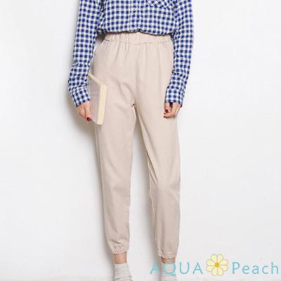 鬆緊高腰束管九分褲 (共三色)-AQUA Peach