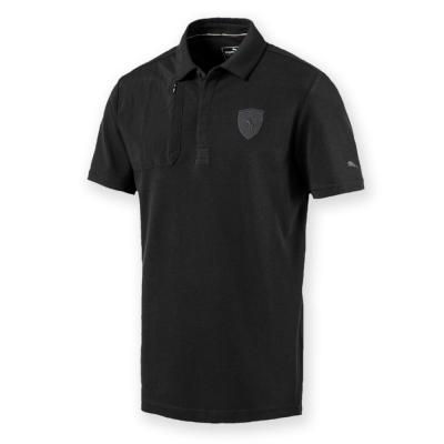PUMA-男性法拉利經典系列小盾牌短袖Polo衫-暗月黑-歐規