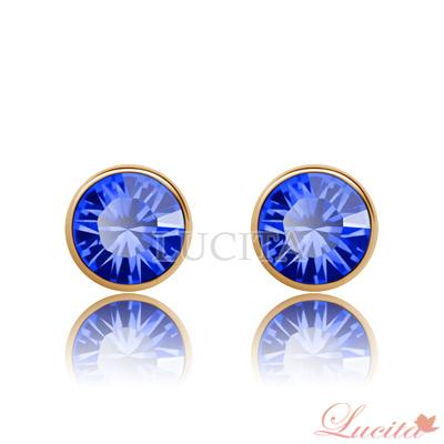 Lucita 耳環 彩鑽金邊耳環 (燦動藍)