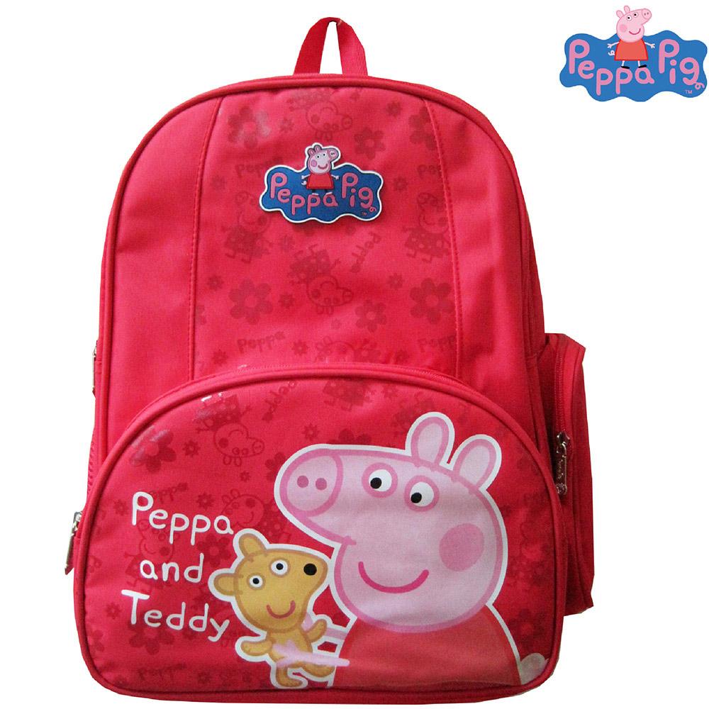 【Peppa Pig 粉紅豬】佩佩豬-喬治護脊書包192C(梅紅_泰迪款_PP-5739)