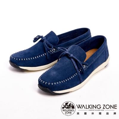 【WALKING ZONE】手工車線休閒男鞋-藍(另有灰)