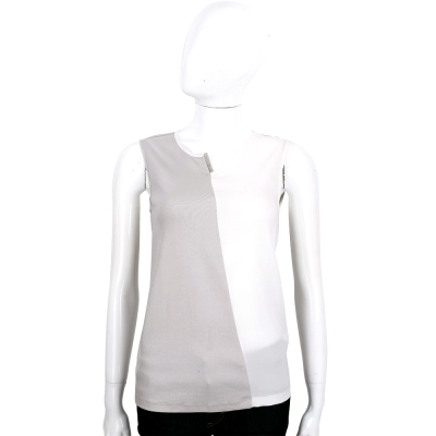 FABIANA FILIPPI 白灰色拼接絲質無袖上衣