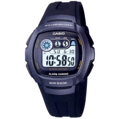 CASIO 穿梭時空兩地時間電子錶(W-210-1B)-藍面