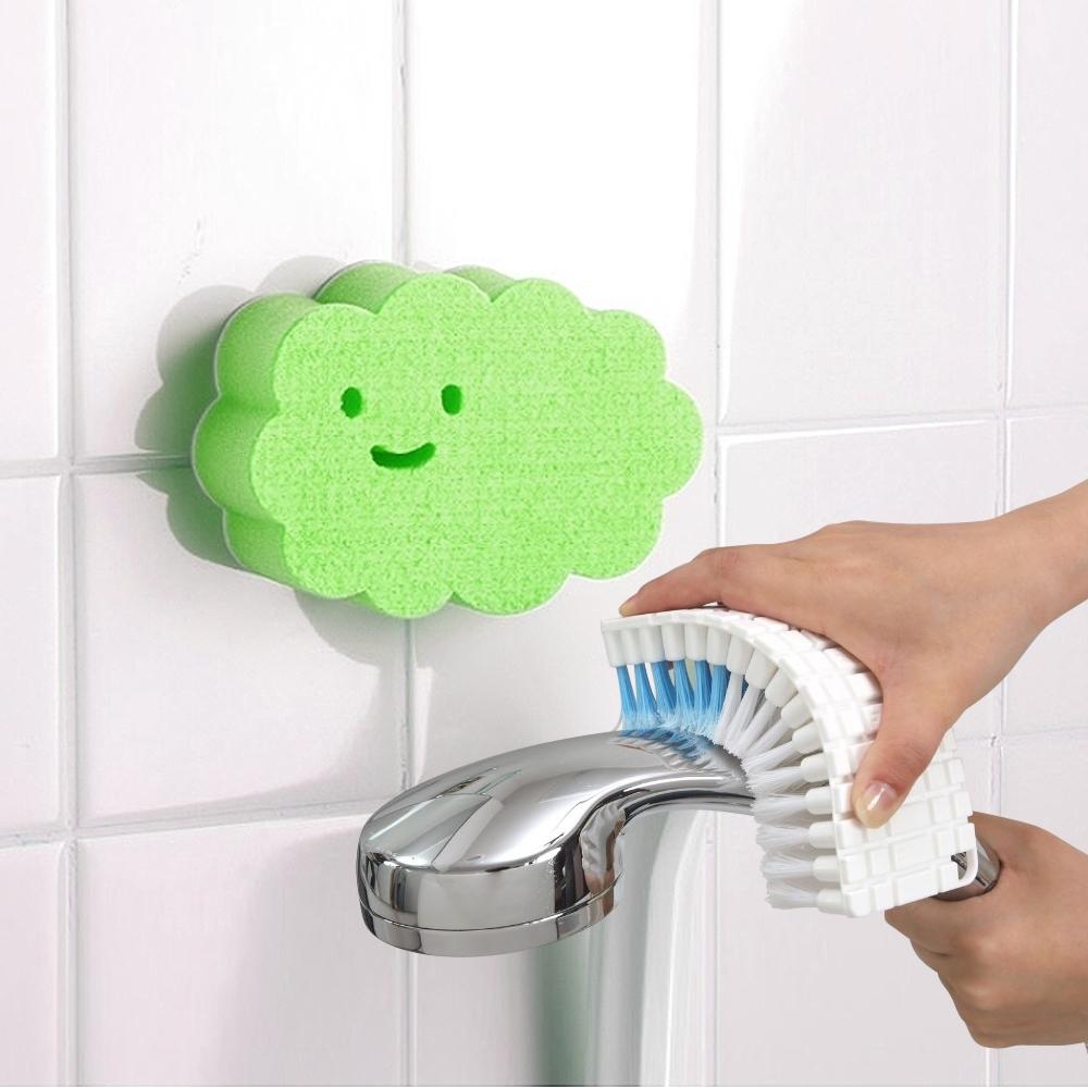 【特惠組】日本AISEN黏貼式雲朵浴室海綿刷+可彎曲刷面清潔刷