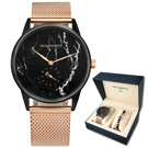 PAUL HEWITT 大理石紋不鏽鋼手錶手環禮盒組-黑x玫瑰金/38mm