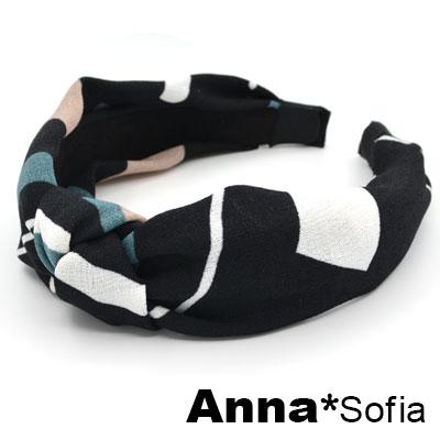 【2件7折】AnnaSofia 繽彩粗斜紋中央結 韓式髮箍(黑底系)
