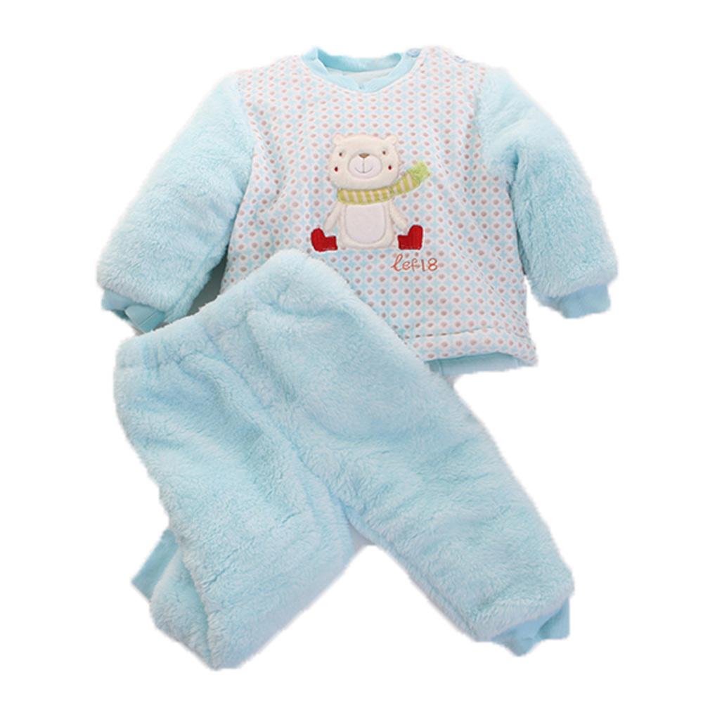 圍巾熊 厚鋪棉寶寶 禦寒套裝-藍 k60072