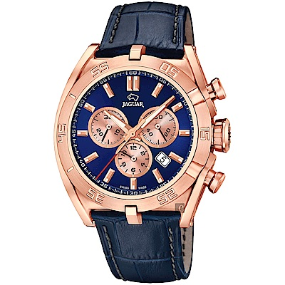 JAGUAR積架 EXECUTIVE 計時手錶-藍x玫塊金框/45.8mm