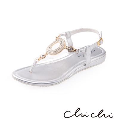 Chichi 華麗圓圈水鑽夾腳涼鞋*銀色