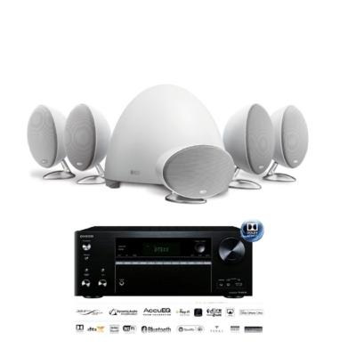 英國 KEF E305 5.1衛星喇叭家庭劇院白色組 + TX-NR676E影音擴大機