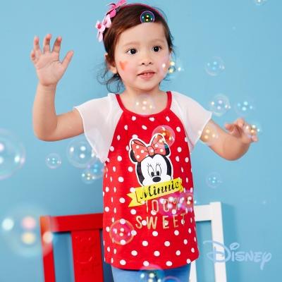 Disney 輕柔米妮荷葉袖上衣 紅色