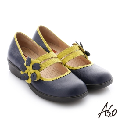 A.S.O 紓壓氣墊 牛皮鬆緊帶奈米休閒鞋 深藍色