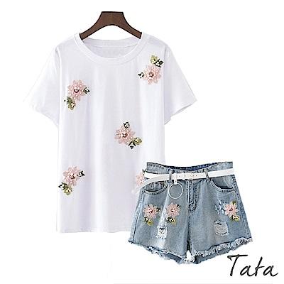 兩件式花朵釘珠上衣加牛仔短褲(配腰帶)中大尺碼 TATA PLUS