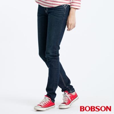 BOBSON  女款銀色出芽小直筒褲