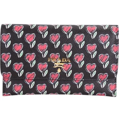 PRADA Saffiano Love 心型印花防刮牛皮萬用夾(黑色/內另付活動式卡夾)
