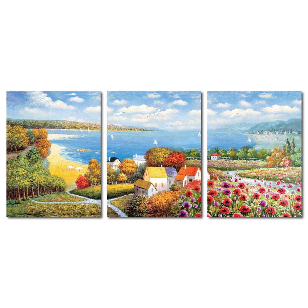 橙品油畫布 - 三聯風景複製無框藝術掛畫 - 世外桃源 30x40cm