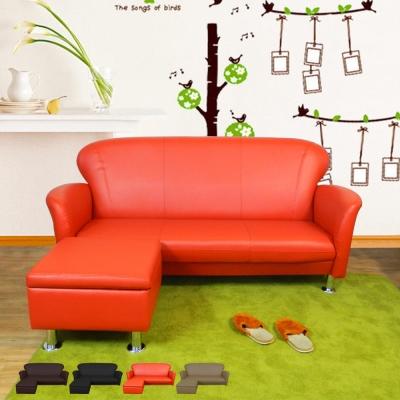 時尚屋 摩登日式5.5尺三人座L型鐵腳沙發 多色可選 寬165cm-免組