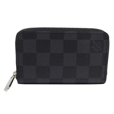 LV N63076 黑棋盤格紋信用卡拉鍊零錢包