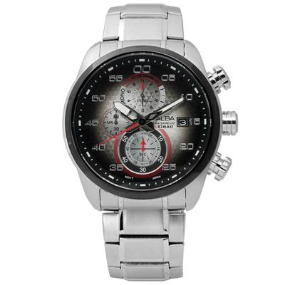 ALBA 海軍酷黑潮流三環計時腕錶(AM3267X1)-紅x深灰/45mm