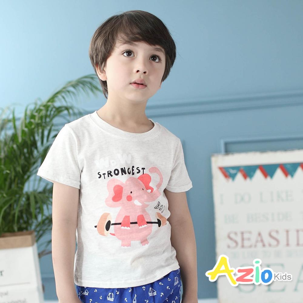 Azio Kids-上衣 舉重大象短袖棉T(花灰)