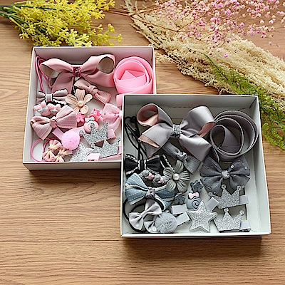 梨花HaNA 媽咪瘋狂啦韓國兒童進口緞帶髮飾禮盒18件組-速