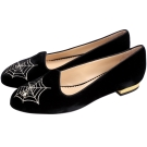 Charlotte Olympia CHARLOTTES 天鵝絨蜘蛛平底鞋(黑色)