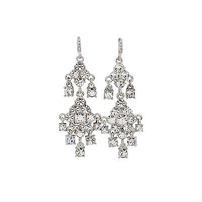 CAROLEE 歐美品牌 垂墜舞會奢華銀色耳環